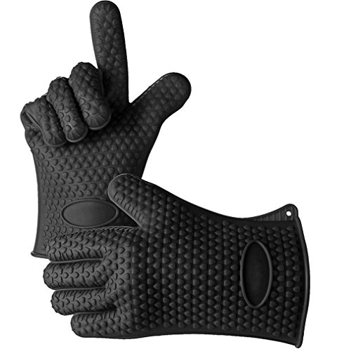 Ultra Thick Skidproof Silicone Heat Resistant Oven Grill Gloves Mitts for BBQ, Baking, Microwave, Potholders, Oven, Grilling (Black) (Wolf Oven Parts compare prices)