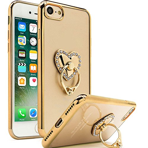 Semoss Luxury Design Bling Gliter TPU Diamond Case with Ring Kickstand for iPhone 7 Ultra Slim Protective Rhinestone Heart Holder Transparent Bumper Rubber Plating Rubber Skin Cover - Gold