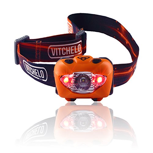 Brightest & Best LED Headlamp Flashlight w/ Red Lights for Night Running, Hunting, Fishing, Camping, Reading, Jogging, Walking - Waterproof, Long Battery Life (Included), Adjustable Beam, Durable, Lightweight, Easy to Use, Lifetime Warranty, 60 Days Money Back Guarantee + Free Bonus! (Orange)