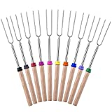 Homitt Marshmallow Roasting Sticks, Set of 10 Barbeque BBQ Skewers, 32-inch Long Extended Smores & Hot Dog Fork with Wooden Handle for Campfire Pit.