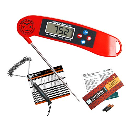 Premium BBQ Bundle By Smart Grills - 3-in-1 Barbecue Cooking Kit Gift Pack - Contains Electronic Instant Read Food Thermometer - Meat Temperature Magnet Guide - Stainless Steel Barbecue Brush (Thermador Temperature Meat Probe compare prices)
