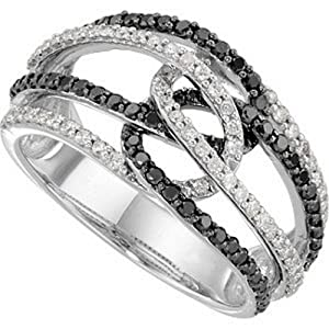 IceCarats Designer Jewelry 14K White Gold Black And White Diamond Ring Size 7