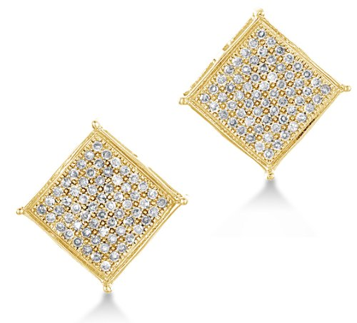 10k Yellow Gold Diamond La s Womens Mens Micro Pave Set Studs
