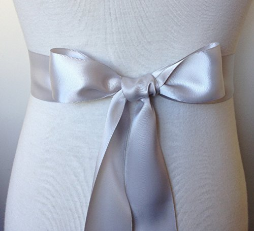 Simple classic colorful ribbon sash for daily dress formal and wedding dress (Silver)