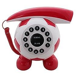 Football Shaped Corded Landline Telephone - White/Red - Novelty Home Decor Creative Fixed Line Phone