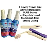 Downy Wrinkle Releaser-3 Count, Travel Size Light Fresh Scent 3 Fl Oz. Plus Bonus Strong Living Folding Travel Toothbrush