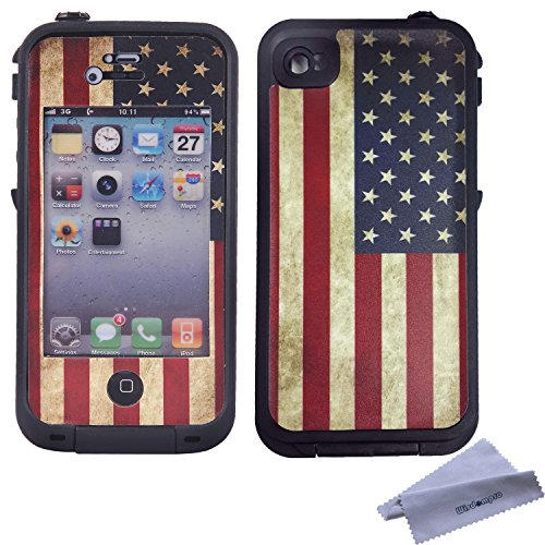Wisdompro Colorful Decorative Vinyl Decal Skin Stickers for Lifeproof iPhone 4/4s Case (Vintage Flag) (Iphone 4s Skin Decal compare prices)