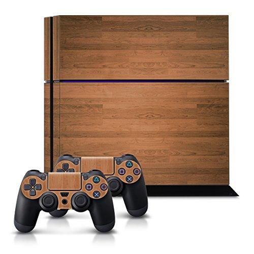 kwmobile Set Adesivi sticker per Playstation 4 Consolle e 2 controller Design venatura legno