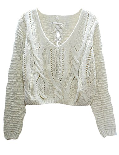 PrettyGuide Women Eyelet Cable Knit Lace Up Crop Long Sleeve Sweater Crop Tops (White)