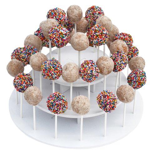 "The Smart Baker® 3 Tier Round White Cake Pop Stand, Holds 40 Cake Pops ""As Seen on Shark Tank"""