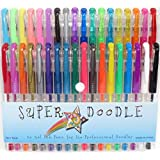 Super Doodle Gel Pens | Professional High Quality 36 Piece Set | Smooth Flowing Ink | Non-toxic and Acid-free | Bold and Vibrant Colors | 12 Glitter, 10 Metallic, 6 Pastel, 6 Neon, 1 Black and 1 White | Comfort Grip | Convenient Packaging Case | 100% Money Back Guarantee!