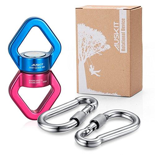 auskit-rotational-device-swivel-360-rotator-30kn-with-2-carabiners-for-rope-clambing-hammock-swing-s