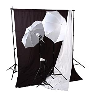 Cowboystudio Photography Studio Fluorescent Umbrella Continuous Lighting Kit & 6 X 9ft Black and White Muslin Backdrops with Background Supporting System