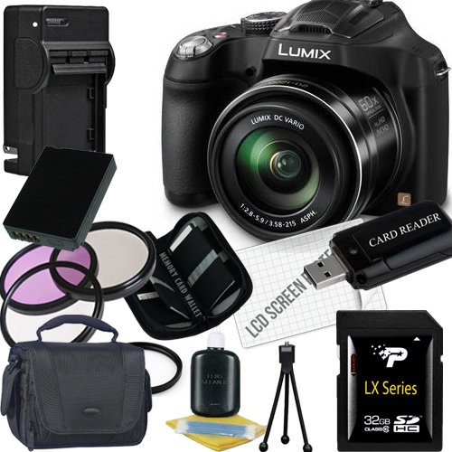 Panasonic Lumix DMC-FZ70 Digital Camera + 32GB SDHC Memory Card + USB SDHC Memory Card Reader + UV FILTER 55MM + CC UV, Florescent, Polarizer Filter Kit (Protect Your Lens!) + Weather Resistant Carrying Case w/Strap + Memory Card Wallet + Two Rechargeable Lithium Ion Replacement Battery + Rapid External Ac/Dc Charger Kit (Panasonic Lumix Dmc Fz70 Battery compare prices)