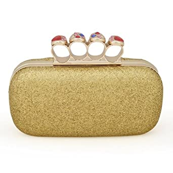TopTie Crystal Knuckle Rings Glitter Hand Case Clutch - Gold