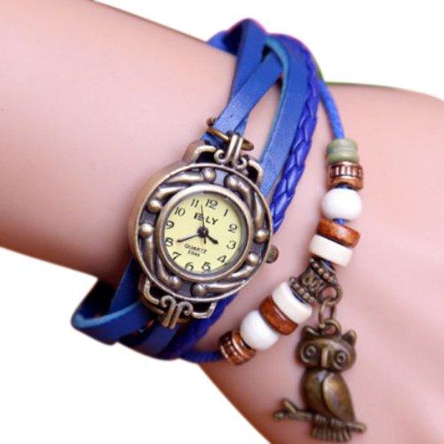 Zps 1Pc Vintage Womens Leather Quartz Owl Pendant Bead Bracelet Bangle Wrist Watch Blue