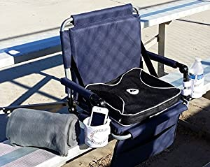 THE OASIS BLEACHER COMBO-Bleacher Chair w/ Removeable Stadium Cushion & Blanket-5 INCHES OF PADDING FOR EXTRA COMFORT-High Quality Product-5 Years Warranty-HEAVY DUTY CONSTRUCTION from PI