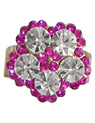 Faux Ruby And White Zirconia Ring Ring - Stone And Metal