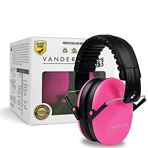 Vanderfields Earmuffs for Kids - Hearing Protection Muffs For Children Small Adults Women Foldable Design Ear Defenders Protector with Adjustable Padded Headband for Optimal Noise Reduction - Pink (Bluetooth Protective Ear Muffs compare prices)