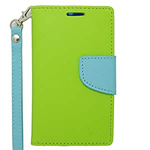 Eagle Cell Alcatel OneTouch Evolve 2 Flip Wallet PU Leather Protective Case - Retail Packaging - Light Blue/Green