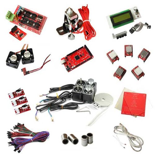 Shipped By Express, Geeetech 3D Printer Kits-Ramps1.4 For Mega2560 + A4988 Stepper Driver(Heatsink) + Smart Controller Lcd2004 + Heatbed Mk2A + Hotend Hot End + Stepper Motor + Cooler Fan + Endstop Ect. For Reprap Prusa Mendel
