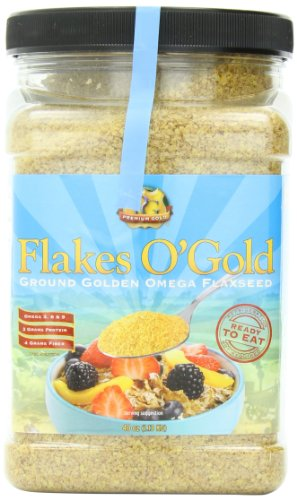 Premium Gold Flakes O'Gold Pre-Ground Golden Flax Seed, 40 Ounce Jars (Pack of 6)