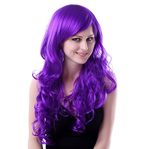 HDE Womens Long Wavy Wig Curly Glamour Hair Style for Halloween Cosplay Costumes (Bright Purple) (Lil Kim Halloween Costume compare prices)
