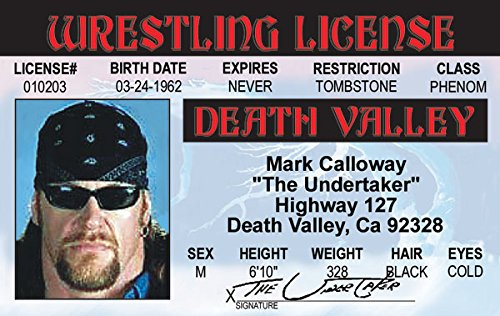 The Undertaker Mark Calloway Fun Fake ID License