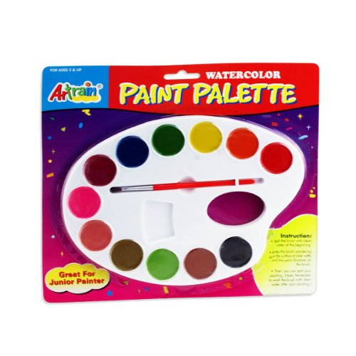 Children's Watercolor Paint Palette & Brush Set - ASTM D-4236, EN71