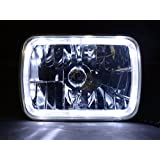 GENSSI H6054 7x6 Inch 200mm Halo LED Headlights Pair H4 Bulbs Non-sealed H6014/h6052/h6054