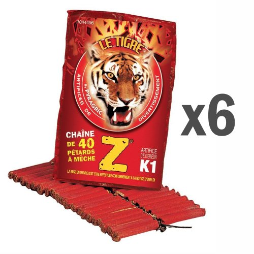 6 Paquets de 40 Pétards Tigre Z