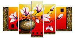 Wieco Art Elegant Flowers 100% hand-painted Artwork Oil Paintings on Canvas Modern Canvas Wall Art Set for Wall Decoration and Home Decorations