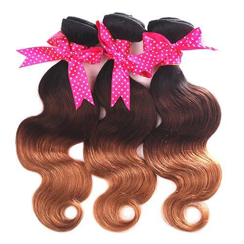 Mike & Mary Ombre Hair Bundles Body Wave #1b/4/27 Brazilian Hair 3 Bundles Lot Ombre Brazilian Hair Extensions Three Tone Color 7a Virgin Brazilian Hair Weaving (10 10 10inch)