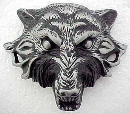 Buy 3D Solid Pewter Wolf Head Belt Buckle Werewolf