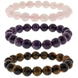 10mm Rose Quartz, Purple Amethyst and Tigers Eye Stretchy Bracelet Set Of Three
