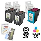 LD © Remanufactured Ink Cartridge Replacements for HP C9364WN (HP 98) Black and HP C8766WN (HP 95) Color (2 Black and 1 Color) + Free 20 Pack of Brand 4x6 Photo Paper