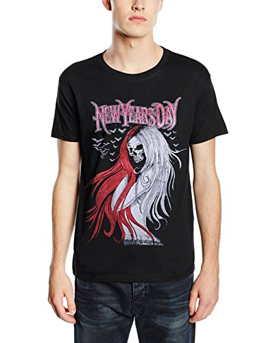 New Years Day Long Hair Skull logo Official Mens New Black T Shirt