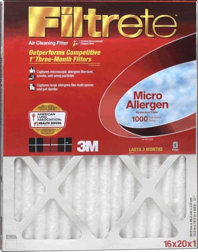 3M Filtrete Allergen Defense Furnace Filter 16x20x1 1000MPR