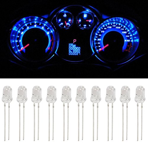 Partsam 10Pcs Blue 4.7mm Mini LED Bulbs Instrument Cluster Panel Backlight Gauge Lights 12V 95ma (Gm Instrument Cluster Bulbs compare prices)