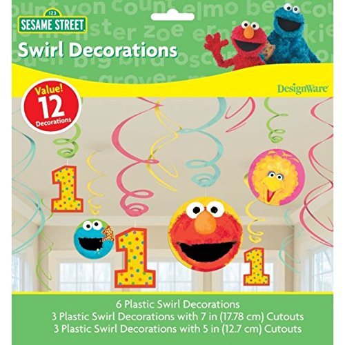 Amscan Sesame Street 1st Birthday Hanging Plastic Swirl Decorations Party Supplies, Medium, Pink/Yellow/Blue/Green - 1