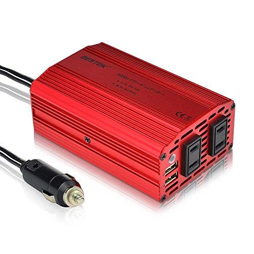 BESTEK® インバーター 300W 定格出力 DC12V to AC100V  シガーソケット充電器 車載電源アダプター カーチャージャー ACコンセント2口・USBポート2口  power inverter MRI3010BU