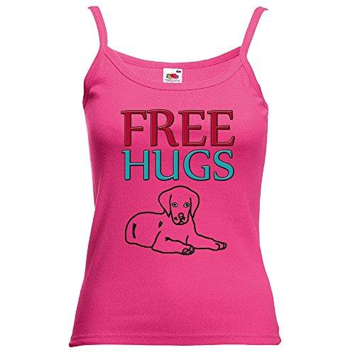Divertente 058, Free Hugs, Fucsia Fruit of the Loom Women Strap Tee Cotone Top e Canotte Spalline Donna con Design Colorato. Taglia XS.