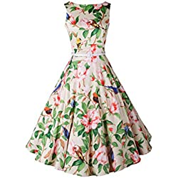 Babyonline - Vestito vintage anni '50, stile Audrey Hepburn, motivo floreale, da sera e da picnic verde Large