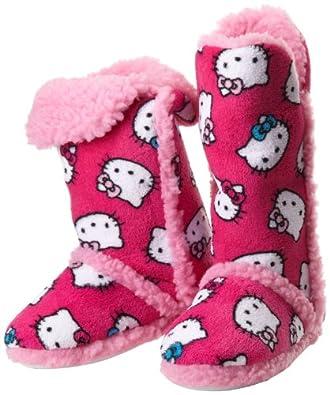 Hello Kitty Junior's Tall Sherpa Trim Slipper Bootie, Fuschia, Large
