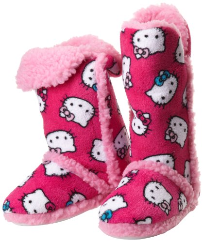 Hello Kitty Junior's Tall Sherpa Trim Slipper Bootie, Fuschia, Medium