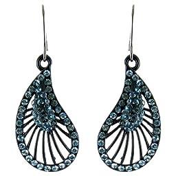 Blue on Black Flamenco Inspired Fan Shaped Earrings