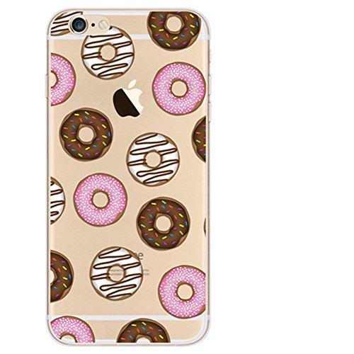 Mushy Housse Étui Coque de protection en silicone et TPU Coque pour Iphone5/5s 3D Motif Case Arrière Clair Transparente Ultra Mince Douce (Donuts)