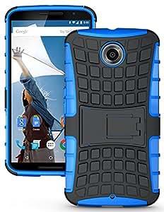 Lively Kick Stand Back Cover For Motorola Google Nexus 6 Blue