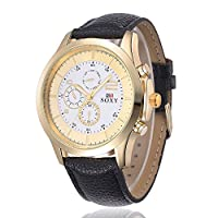 SOXY Brand Luxury Watches Men Business Dress Leather Strap Wristwatch Fashion Golden Case Quartz Watches Reloj Hombre by SOXY