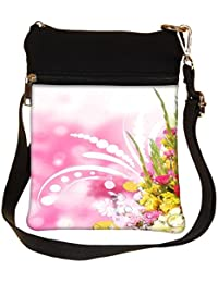 Snoogg Floral Corner Border With Blurred Background Cross Body Tote Bag / Shoulder Sling Carry Bag